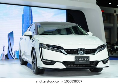 NONTHABURI, THAILAND - March 30: The Honda Clarity Fuel Cell is on display during The 39th Bangkok International Motor Show on March 30, 2018 in Nonthaburi, Thailand.