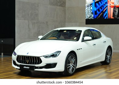 NONTHABURI, THAILAND - March 30: The Maserati Ghibli is on display during The 39th Bangkok International Motor Show on March 30, 2018 in Nonthaburi, Thailand.