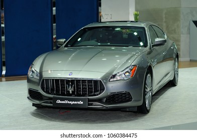 NONTHABURI, THAILAND - March 30: The Maserati Quattroporte is on display during The 39th Bangkok International Motor Show on March 30, 2018 in Nonthaburi, Thailand.