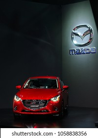 NONTHABURI, THAILAND - March 30: The Mazda 2 is on display during The 39th Bangkok International Motor Show on March 30, 2018 in Nonthaburi, Thailand.