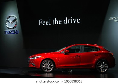 NONTHABURI, THAILAND - March 30: The Mazda 3 is on display during The 39th Bangkok International Motor Show on March 30, 2018 in Nonthaburi, Thailand.