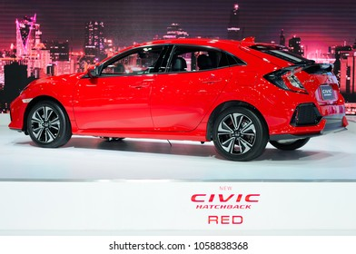 NONTHABURI, THAILAND - March 30: The New Honda Civic Hatchback Red is on display during The 39th Bangkok International Motor Show on March 30, 2018 in Nonthaburi, Thailand.