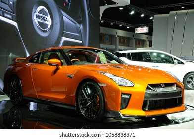 NONTHABURI, THAILAND - March 30: The Nissan GT-R is on display during The 39th Bangkok International Motor Show on March 30, 2018 in Nonthaburi, Thailand.