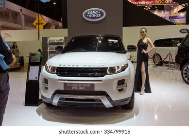 NONTHABURI, THAILAND - MARCH 30: Unidentified female model with Land Rover Range Rover Evoque at the 36th Bangkok International Motor Show 2015 on March 30, 2015 in Nonthaburi, Thailand.