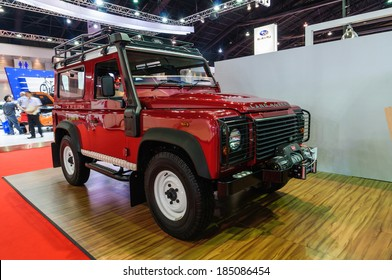 NONTHABURI, THAILAND - MARCH 31: The Land Rover Defender is on display at the 35th Bangkok International Motor Show 2014 on March 31, 2014 in Nonthaburi, Thailand.