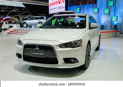 NONTHABURI, THAILAND - MARCH 31: The Mitsubishi Lancer EX is on display at the 35th Bangkok International Motor Show 2014 on March 31, 2014 in Nonthaburi, Thailand.