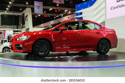 NONTHABURI, THAILAND - MARCH 31: The Subaru WRX is on display at the 35th Bangkok International Motor Show 2014 on March 31, 2014 in Nonthaburi, Thailand.