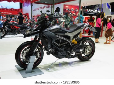 NONTHABURI, THAILAND - MARCH 31:The Ducati Hyperstrada is on display at the 35th Bangkok International Motor Show 2014 on March 31, 2014 in Nonthaburi, Thailand