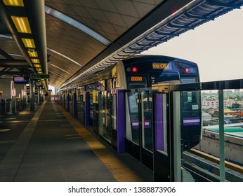 NONTHABURI, THAILAND - MAY 04, 2019: Metropolitan Rapid Transit (MRT) purple line, Train park at platform waiting for the passenger.