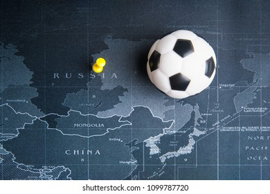 Nonthaburi, Thailand - May, 26, 2018 : Football or soccer ball toy on the world map pin to Russia countries at Nonthaburi, Thailand.World Cup 2018 concept