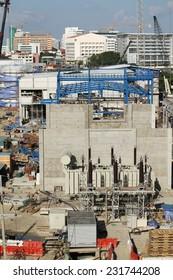 NONTHABURI -THAILAND - NOVEMBER 13 : Construction of EGAT's North Bangkok gas combine cycle power plant 800 MW on November 13, 2014 in Nonthaburi province, Thailand
