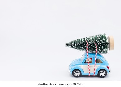 Nonthaburi, Thailand - November, 14, 2017 : Lego Santa Claus car driver to send christmas trees at Christmas day.Theme Christmas day background.