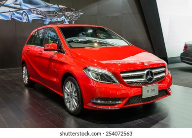 NONTHABURI, THAILAND - NOVEMBER 28: The Mercedes Benz B200 is on display at the 31st Thailand International Motor Expo 2014 on November 28, 2014 in Nonthaburi, Thailand.