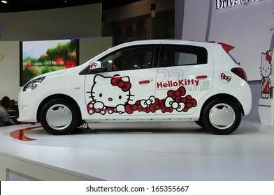 c28d193ba NONTHABURI, THAILAND - NOVEMBER 29:The Mitsubishi Mirage meets Hello Kitty  is on display