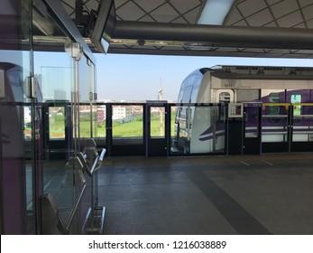 Nonthaburi, Thailand - Oct 29: MRT skytrain Purple Line at Khlong Bang Phai MRT station. on Oct 29, 2018 in Nonthaburi, Thailand.
