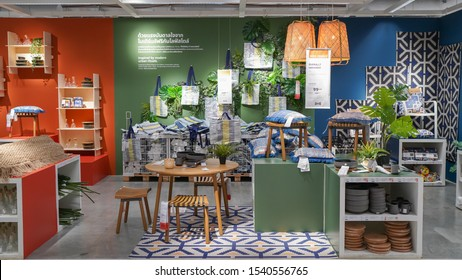 Nonthaburi, Thailand - Oct 9, 2019 : Interior of IKEA store in Thailand. Ikea was founded in Sweden in 1943, Ikea is the world's largest furniture retailer.