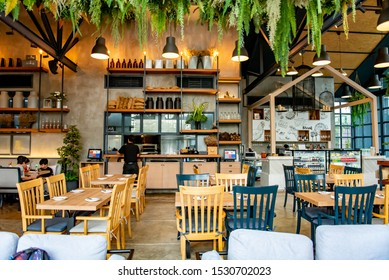 NONTHABURI, THAILAND - OCTOBER 5, 2019 : Sawasdee Cafe De Pakkret is the restaurant contemporary design in loft style, interior of luxury restaurant modern design, delicious food and good taste.