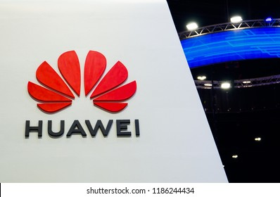 NONTHABURI, THAILAND – On September 22, 2018 - Huawei Technologies Co., Ltd. is a Chinese multinational networking, telecommunications equipment, and services company branding logo.