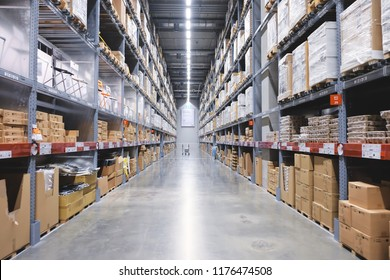 Nonthaburi, Thailand - September 11, 2018 : IKEA Bangyai furniture warehouse area, Large Inventory. Warehouse Goods Stock for Logistic.