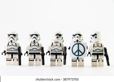 Nonthaburi, Thailand-December29,2015: The lego Star Wars figures from movie series on isolated white background, Lego is an interlocking brick system collected around the world by adults and children.