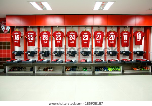 NONTHABURI THAILAND-FEBRUARY 02:Athletic dressing rooms team of Muangthong Utd during  Thai Premier League between Muangthong Utd.and Chainat FC at SCG Stadium on Feb 02, 2014,Thailand