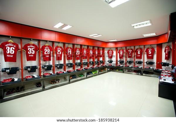 NONTHABURI THAILAND-FEBRUARY 02:Athletic dressing rooms team of Muangthong Utd during  Thai Premier League between Muangthong Utd.and Chainat FC at SCG Stadium on Feb 02, 2014,Thailand