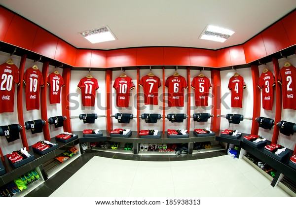 NONTHABURI THAILAND-FEBRUARY 02:Athletic dressing rooms team of Muangthong Utd. during  Thai Premier League between Muangthong Utd.and Chainat FC at SCG Stadium on Feb 02, 2014,Thailand