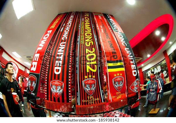 NONTHABURI THAILAND-FEBRUARY 02:Scarves in the shop of  SCG Stadium before Thai Premier League between Muangthong Utd.and Chainat FC at SCG Stadium on Feb 02, 2014,Thailand