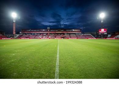 NONTHABURI THAILAND-JUN14:View of SCG Stadium during a Thai Premier League between SCG Muangthong Utd and Osotspa M-150 Saraburi F.C. at SCG Stadium on June 14,2014,Thailand