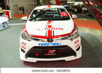 NONTHABURI THAILAND-JUNE 20 : Toyota new Vios displayed at Bangkok International Auto Salon 2013 on June 20, 2013. The event exiting modified car showed in Nonthaburi, Thailand.