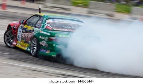 NONTHABURI THAILAND-JUNE 30 : Davide D., Thai driver from Ptt  Team in D1 Grand Prix Series Thailand Professional Drift on June 30, 2013 in Nonthaburi, Thailand.