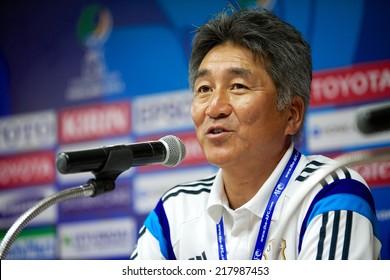 NONTHABURI THAILAND-SEPTEMBER 10:Head Coach Yoshitake Hirofumi of Japan interview for press during the AFC U-16 Championship between Australia and Japan at Muangthong Stadium on Sep10 ,2014,Thailand