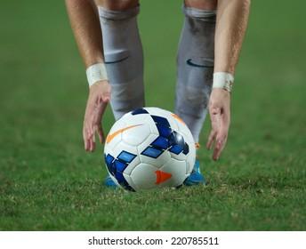 NONTHABURI THAILAND-SEPTEMBER 17:Details of ball during the AFC U-16 Championship between Australia and DPR Korea at Rajamangala Stadium on Sep17,2014,Thailand
