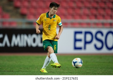 NONTHABURI THAILAND-SEPTEMBER 17:Joe Kato Caletti of Australia in actionduring the AFC U-16 Championship between Australia and DPR Korea at  Rajamangala Stadium on Sep17,2014,Thailand