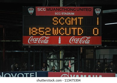NONTHABURI THAILAND-SEPTEMBER 9:View scoreboard  for your Text during Thai Premier League between SCG Muangthong utd.and Wuachon utd. on September 9,2012 in ,Thailand