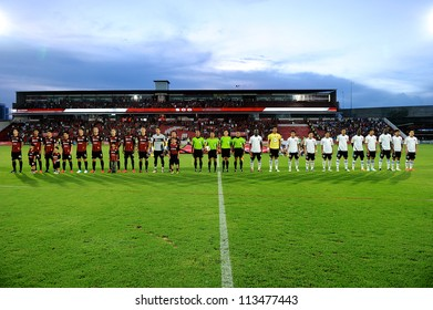 NONTHABURI THAILAND-SEPTEMBER9:Players post for a photo  during before match Thai Premier League between SCG Muangthong utd.and Wuachon utd.at SCG Stadium on Sep9,2012 in Nonthaburi,Thailand