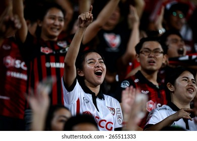 NONTHABURI THAI-Mar 07:Unidentified fan Muangthong utd. supporters during the Thai Premier League 2015 between SCG Muangthong UTD. and Port F.C. at SCG Stadium on March 07,2015 in,Thailand