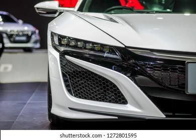 Nonthaburi-Thailand 28 NOV 2018: Headlight of Honda NSX on display at The 35th Thailand International Motor Expo 2018 on 28 NOV - 10 DEC 2018 at IMPACT Challenger Muang Thong Thani