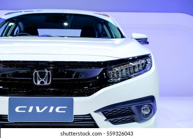 Nonthaburi-Thailand DEC 2 2016: Headlight of New Honda CIVIC on display at Thailand International Motor Expo2016 on 12/2/16 at IMPACT Challenger Muang Thong Thani.