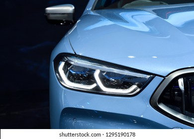 Nonthaburi,THAILAND - Dec 2, 2018: BMW 8 Series Coupe be closeup LED headlight with Laserlight , sport and luxury design.