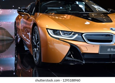 Nonthaburi,THAILAND - Dec 2, 2018: The New BMW i8 Roadster 2018, laser high-beam mode. The opthe optional BMW Laserlights illuminate a range. This improves safety by enhancing visibility.