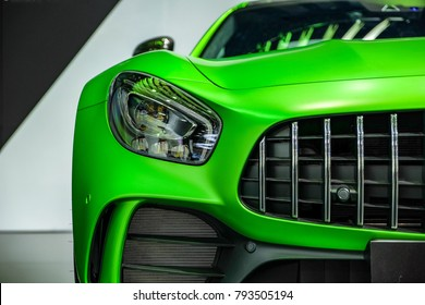 Nonthaburi-Thailand DEC 5 2017: Close-up a head light Mercedes Benz AMG GT-R on display at The 34th Thailand International Motor Expo 2017 on DEC 1 - 11 DEC 2017 at IMPACT Challenger Muang Thong Thani