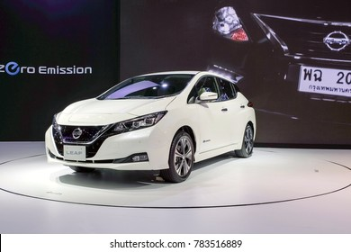 Nonthaburi-Thailand DEC 5 2017: Nissan LEAF, zero-emission 100% electric car on display at The 34th Thailand International Motor Expo 2017 on DEC 1 - 11 DEC 2017 at IMPACT Challenger Muang Thong Thani