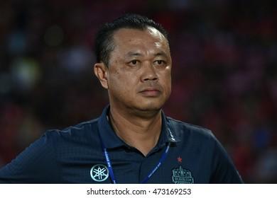 NONTHABURI-THAILAND JULY24:Buriram United club president Newin Chidchob in action during Thai Premier League 2016 Muangthong Utd and Buriram UTD at SCG Stadium on July24,2016 in Nonthaburi,Thailand