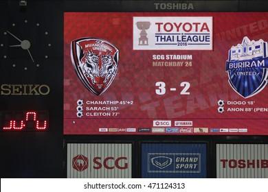 NONTHABURI-THAILAND JULY24:Show scoreboards of SCG Stadium during Thai Premier League 2016 Muangthong Utd and Buriram UTD at SCG Stadium on July24,2016 in Nonthaburi,Thailand