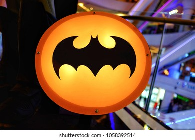 "NONTHABURI,THAILAND - MARCH 29 : A batsignal from the movie ""batman"" showing in the theater area with a led light display at NONTHABURI,Thailand on March 29,2018."