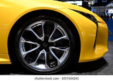 Nonthaburi,THAILAND - March 30, 2018: Alloy Wheel, Lexus LC 500 World-class luxury coupe at THE 39th BANGKOK INTERNATIONAL MOTOR SHOW 2018