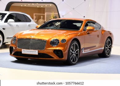 Nonthaburi,THAILAND - March 30, 2018: The BENTLEY New Continental GT at THE 39th BANGKOK INTERNATIONAL MOTOR SHOW 2018