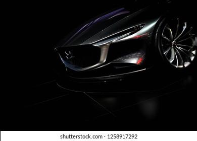 Nonthaburi,Thailand - November 28,2018 :Front of Mazda Vision Coupe concept car on display in big event car at Motor Expo 2018 IMPACT Arena, Muang Thong Thani
