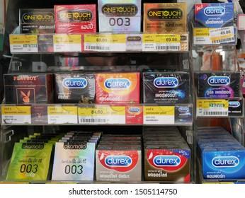 NONTHABURI,THAILAND-15 SEPTEMBER 2019:Various of condoms on shelf for sale in the supermarket.